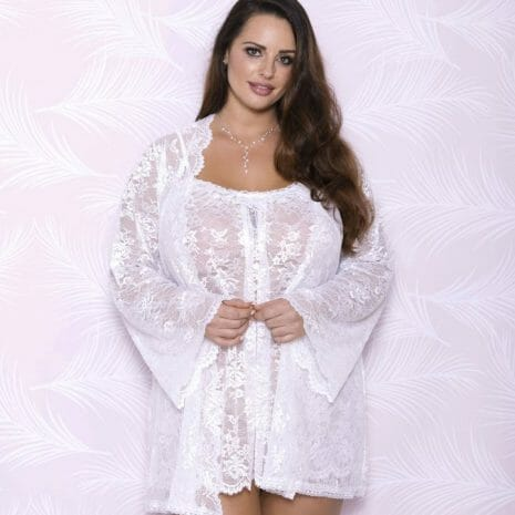 Allover Lace Robe with Scalloped Neckline 7855X
