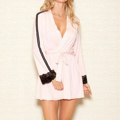 iCollection Womens Modal Robe with Lace Trim Sleeves | 7876