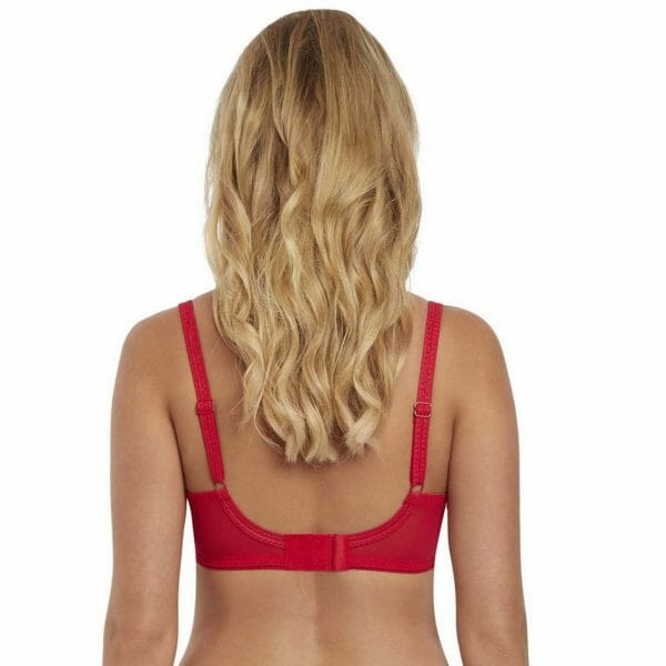 Back view of Freya Soiree Lace White High Apex Bra in rouge