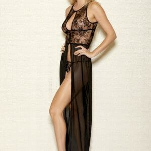 iCollection Long Velvet Mesh Gown 7887X