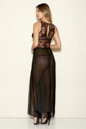iCollection Long Velvet Mesh Gown 7887 back