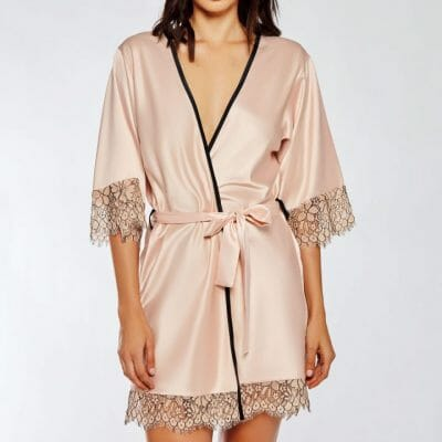 iCollection Satin & Eyelash Lace Robe 7918