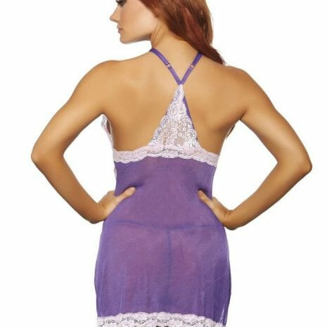 Popsi Risque Purple Halter Babydoll with Matching Panty 8069 at Belle Lacet Lingerie, Chandler