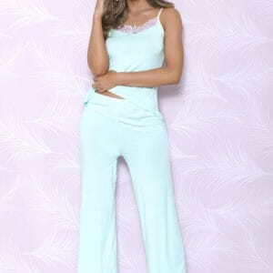 iCollection Modal Sleep Long Pants with Lace Trim 7843