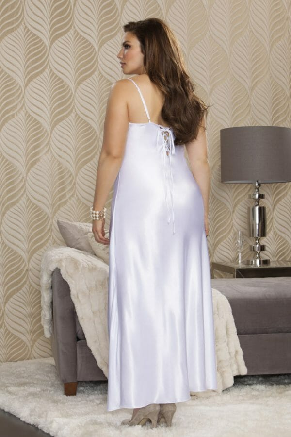 iCollection Long Satin Gown with Lace Trim 7801X