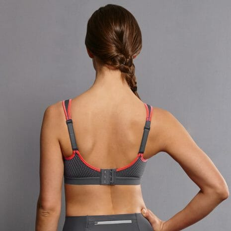 Back view of the Anita Air Control Sports Bra 5533 in Coral at Belle Lacet Lingerie.
