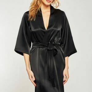 Satin Robe by iCollection style 7854 at Belle Lacet Lingerie