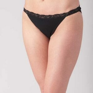 Lace Trim Thong from cotn at Belle Lacet Lingerie.
