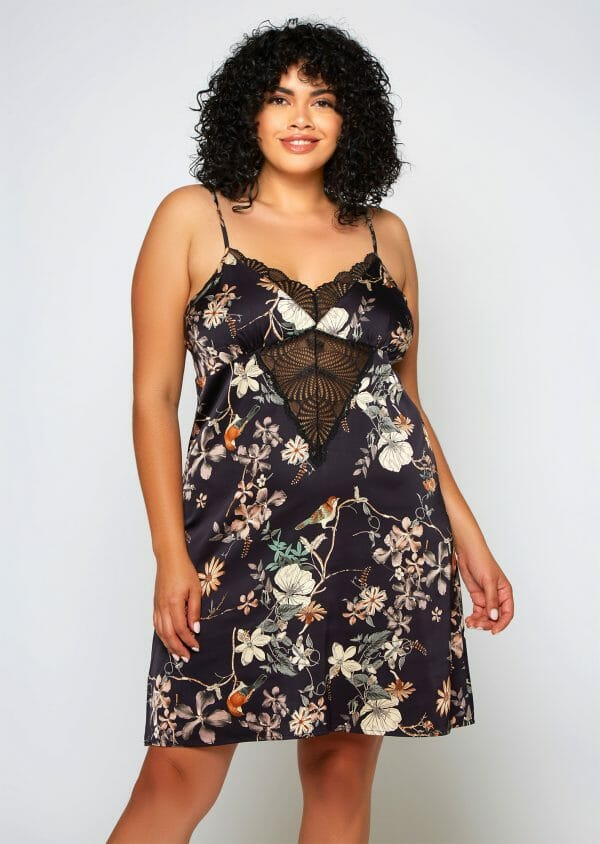 AMELIA Floral Chemise in Plus Size by iCollection at Belle Lacet Lingerie